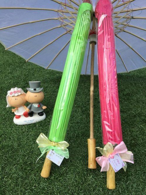 Sombrilla parasol de madera y tela surtida de colores for Tela para sombrillas